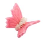 Motylki cukrowe na tort średnie różowe 3D 5szt