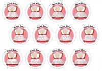 Opłatki waflowe na muffinki Dzień Babci 6cm 12szt v1