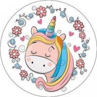 Opłatek waflowy okrągły na tort Jednorożec (Unicorn) 20cm