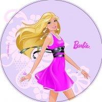 Modecor - opłatek na tort okrągły Barbie na spacerze