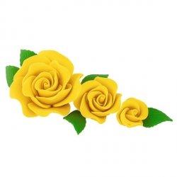 Zestaw cukrowe kwiaty na tort 3 RÓŻE z listkami ŻÓŁTE
