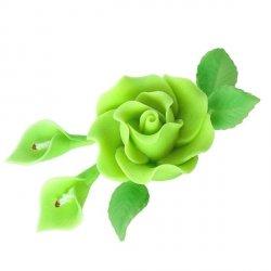 Zestaw cukrowe kwiaty RÓŻA MAX + KALIE z listkami ZIELONE