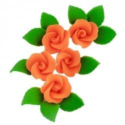 Zestaw cukrowe kwiaty 5x RÓŻA MAŁA z listkami POMARAŃCZOWA