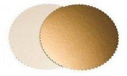 Podkład pod tort gruby złoty karbowany śr. 26cm - 10szt