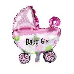 Balon foliowy - wózek BABY GIRL - różowy 72 x 78 cm