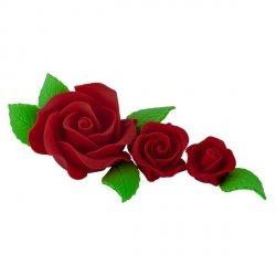Zestaw cukrowe kwiaty na tort 3 RÓŻE z listkami BORDOWE