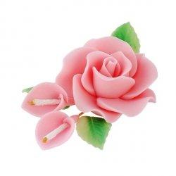 Zestaw cukrowe kwiaty RÓŻA MAX + KALIE z listkami RÓŻOWE
