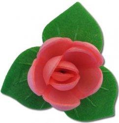 Róże z listkami opłatkowe - kompozycja 3 szt. różowe