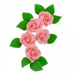 Zestaw cukrowe kwiaty 5x RÓŻA MAŁA z listkami RÓŻOWA