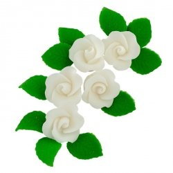 Zestaw cukrowe kwiaty 5x RÓŻA MAŁA z listkami BIAŁA