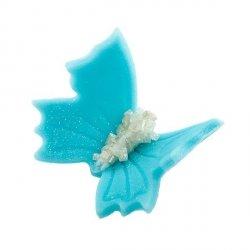 Motylki cukrowe na tort średnie niebieskie 3D 70szt