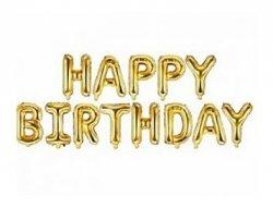 Balon foliowy - HAPPY BIRTHDAY - złoty 16