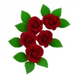 Zestaw cukrowe kwiaty 5x RÓŻA MAŁA z listkami BORDOWA