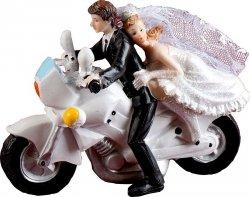 Figurka na tort ślub PARA MŁODA NA ŚCIGACZU motorze
