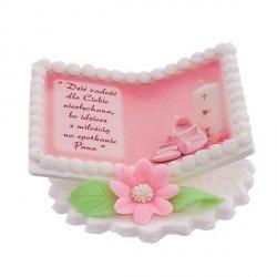 Tabliczka na chrzest różowa KSIĄŻECZKA ZE ŚWIECĄ - dekoracja cukrowa na tort