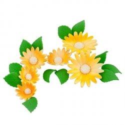 Zestaw cukrowe kwiaty na tort RUMIANEK z listkami ŻÓŁTY