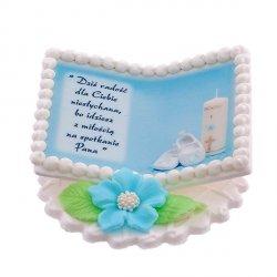 Tabliczka na chrzest niebieska KSIĄŻECZKA ZE ŚWIECĄ - dekoracja cukrowa na tort