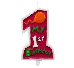 Świeczka na tort MY 1ST BIRTHDAY roczek różowa