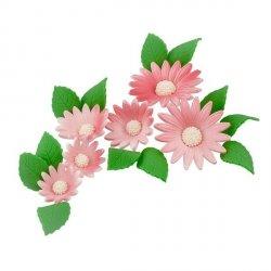 Zestaw cukrowe kwiaty na tort RUMIANEK z listkami RÓŻOWY