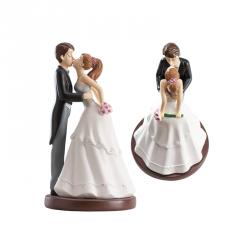 Figurka na tort ślub PARA MŁODA całująca się 16cm