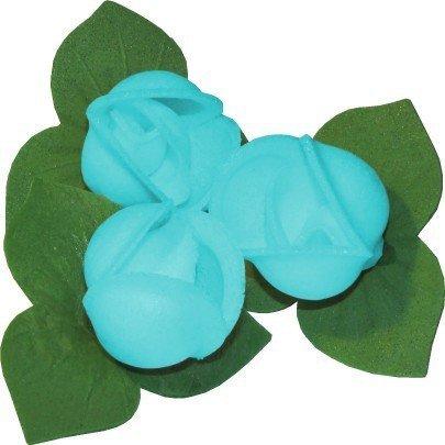 Róże z listkami opłatkowe - kompozycja 3 szt. niebieskie