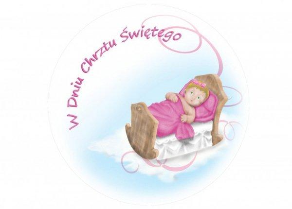 Opłatek na tort na chrzest okrągły Łóżeczko  z dziewczynką