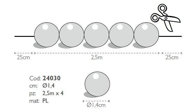 Modecor - sznur fioletowych pereł ozdobnych 2,5 m