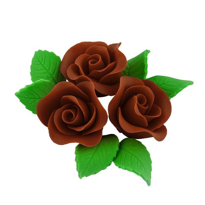 Zestaw cukrowe kwiaty na tort 3 ŚREDNIE RÓŻE z listkami CZEKOLADOWY