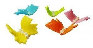 Motylki cukrowe na tort małe kolorowe 3D 5szt