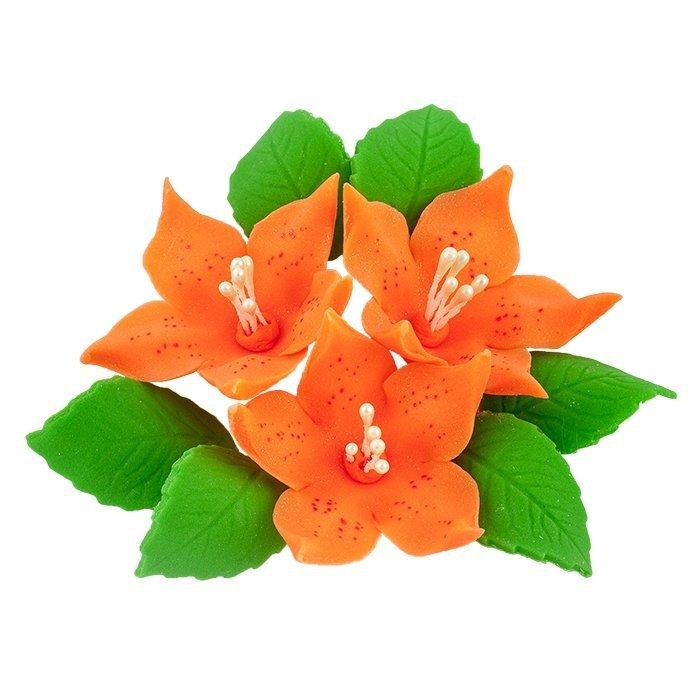 Zestaw cukrowe kwiaty na tort LILIJKA z listkami POMARAŃCZOWA