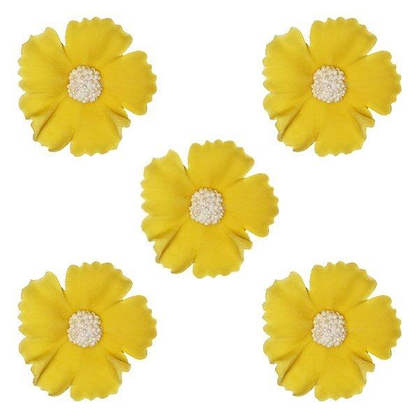 Duże kwiaty cukrowe na tort CHABER 5szt żółte