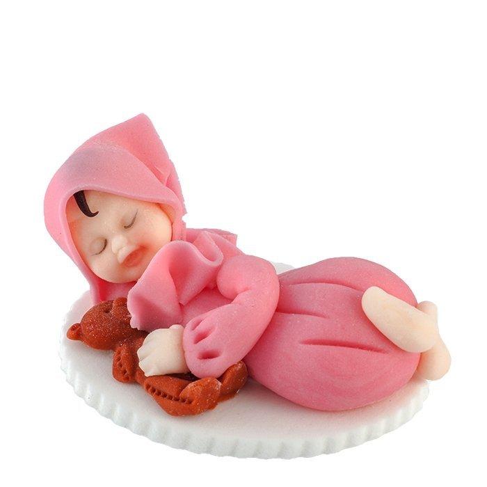 Figurka na tort BOBAS Z MISIEM chrzest baby shower różowy