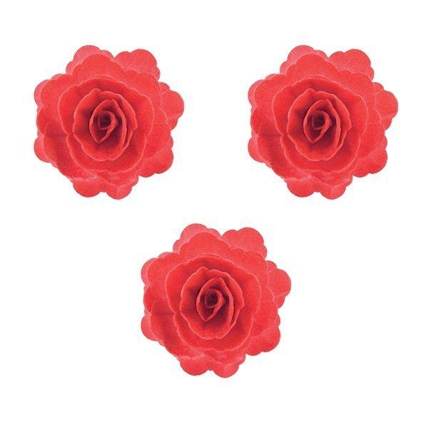 Róża chińska waflowa na tort duża (7cm) czerwona 3szt
