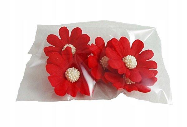 Kwiatki cukrowe na tort STOKROTKA 5szt czerwone