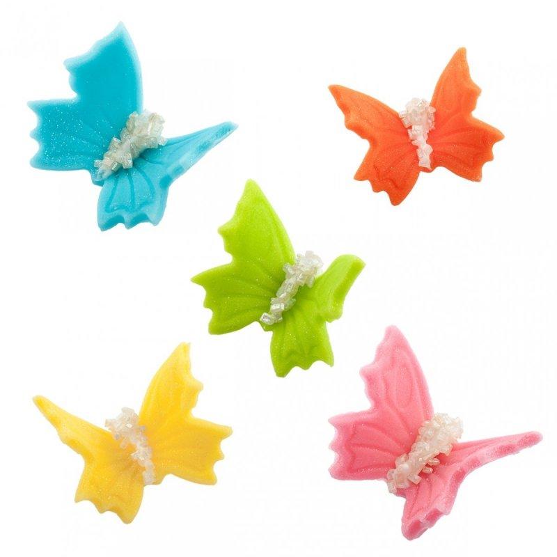 Motylki cukrowe na tort duże kolorowe 3D 50szt