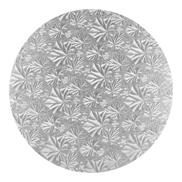 Podkład pod tort okrągły gruby 1,2cm SREBRNY 32,5cm (wzór liście)
