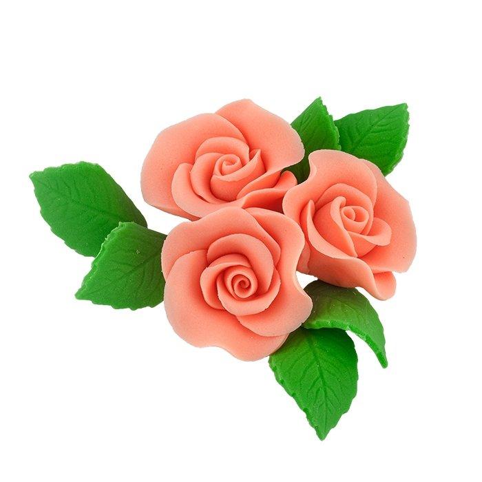 Zestaw cukrowe kwiaty na tort 3 ŚREDNIE RÓŻE z listkami ŁOSOSIOWY