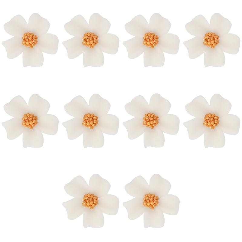 Kwiatki cukrowe na tort NIEZAPOMINAJKA 10szt białe