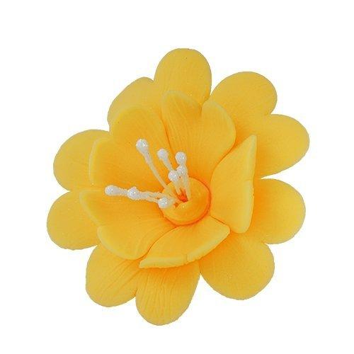 FUKSJA kwiat cukrowy na tort 6,5cm ŻÓŁTY 8szt