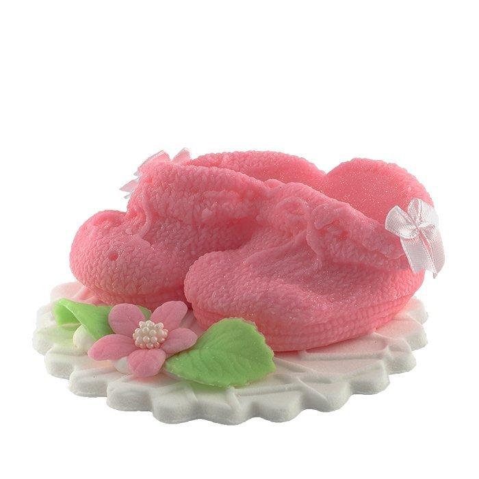 Buciki różowe dekoracja tortu na chrzest baby shower