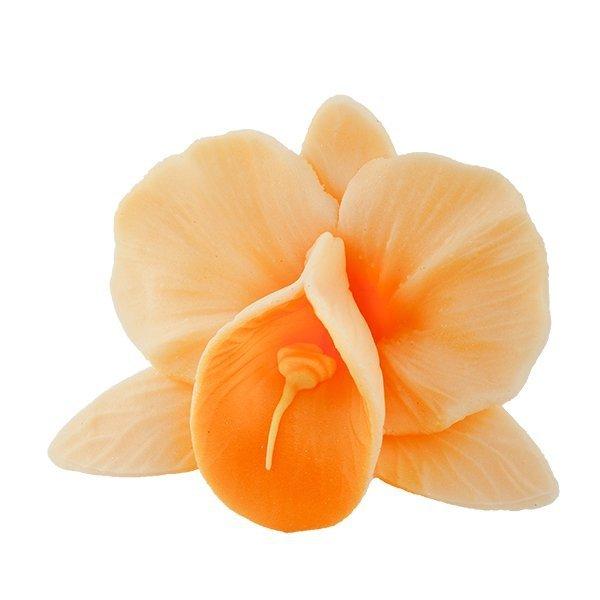 Storczyk kwiat cukrowy na tort 6cm herbaciany 1szt
