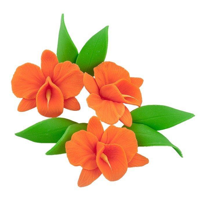 Zestaw cukrowe kwiaty na tort STORCZYK z listkami POMARAŃCZOWY