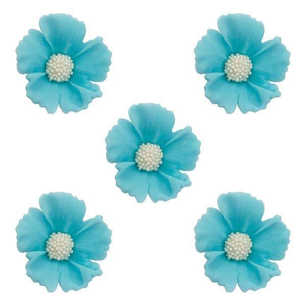 Duże kwiaty cukrowe na tort CHABER 5szt niebieskie