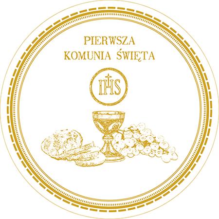 Opłatek waflowy okrągły na tort KOMUNIA IHS 20cm