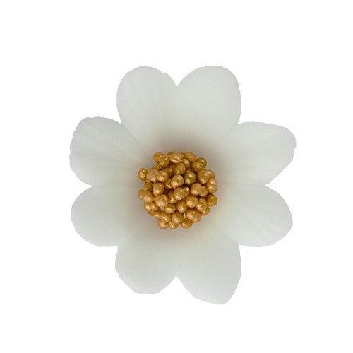 Kwiatki cukrowe BIAŁE na tort MIŁEK 10szt