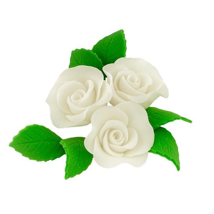 Zestaw cukrowe kwiaty na tort 3 ŚREDNIE RÓŻE z listkami BIAŁY