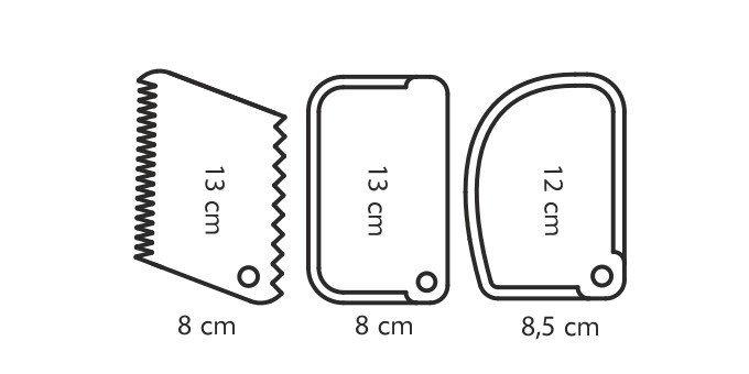 Szpatułki łopatki grzebień do kremu masy 3szt - Tescoma