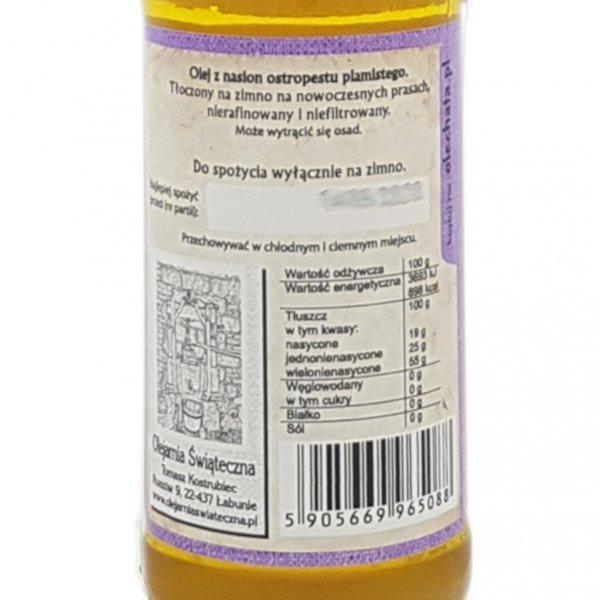 Olej z ostropestu 200 ml  Na Zdrowie! - tył etykieta.
