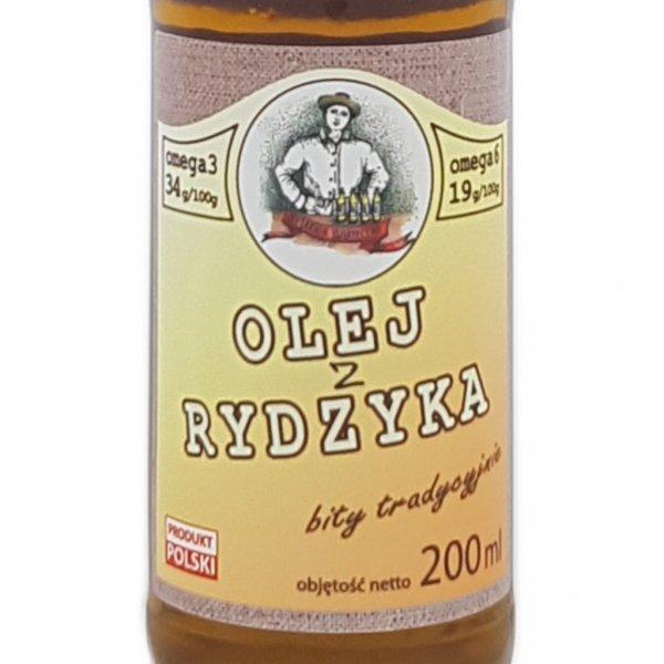 Olej z rydzyka 200 ml bity tradycyjnie - przód etykieta.