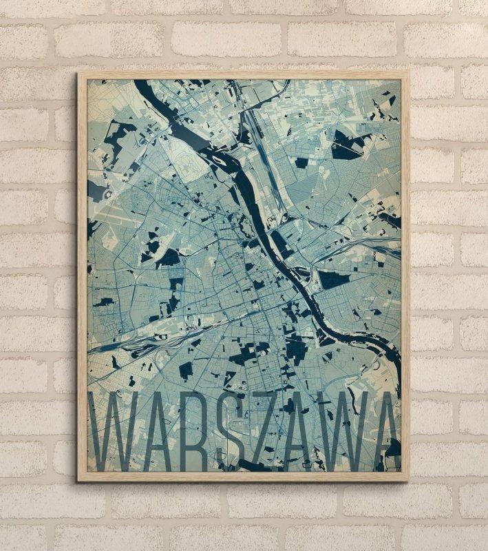 Plakat Na ścianę Warszawa Mapa 40x50 Dekoracje ścienne